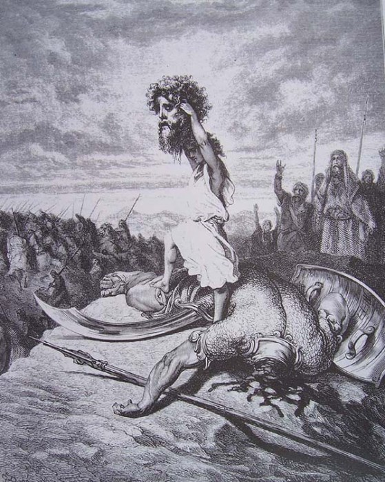 David hoists the severed head of Goliath as illustrated by Gustave Doré (1866).